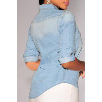 Fashionable Long Sleeve Shirt Collar Pocket Design Denim Women's Shirt - LIGHT BLUE S