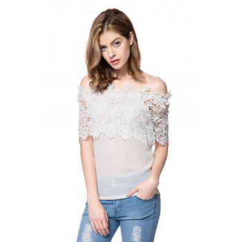 Stylish Slash Collar Short Sleeve Spliced Solid Color Women's Blouse