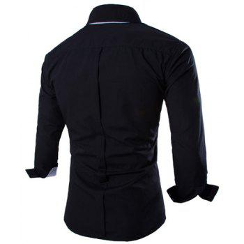 Trendy Two Color Splicing Shirt Collar Long Sleeve Fitted Men's Polyester Shirt - BLACK BLACK