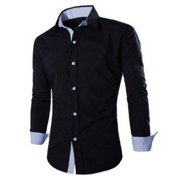 Trendy Two Color Splicing Shirt Collar Long Sleeve Fitted Men's Polyester Shirt - BLACK XL