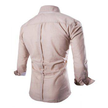 Trendy Two Color Splicing Shirt Collar Long Sleeve Fitted Men's Polyester Shirt - L L