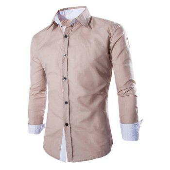 Trendy Two Color Splicing Shirt Collar Long Sleeve Fitted Men's Polyester Shirt - DARK KHAKI L