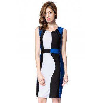Simple Style Scoop Neck Sleeveless Color Block Packet Buttock Dress - BLUE BLUE