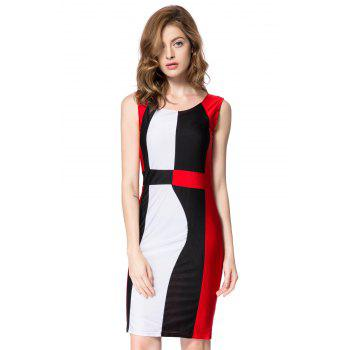 Simple Style Scoop Neck Sleeveless Color Block Packet Buttock Dress