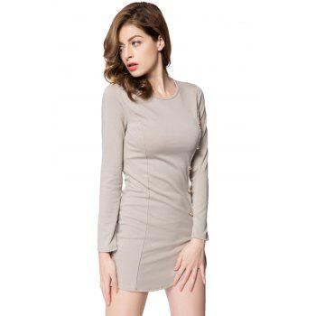 Solid Color Long Sleeve Round Collar Buttons Design Packet Buttock Dress - LIGHT GRAY L