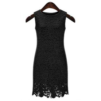 Sexy Round Neck Sleeveless Cut Out Solid Color Women's Lace Dress
