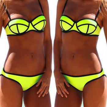 Simple Design Push Up Spaghetti Strap Women's Bikini Set - YELLOW YELLOW