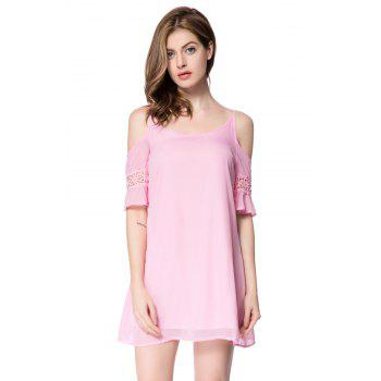 Casual Spaghetti Strap 3/4 Sleeve Solid Color Backless Women's Dress - PINK L