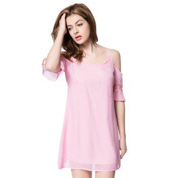 Casual Spaghetti Strap 3/4 Sleeve Solid Color Backless Women's Dress - L L