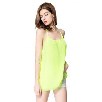 Sexy Scoop Neck Sleeveless Chiffon Backless Women's Blouse - GREEN L