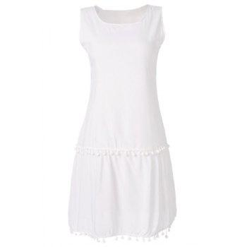 Simple Scoop Collar Sleeveless Fringe Design Solid Color Women's Dress