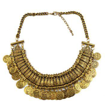 Carved Coin Tassel Statement Necklace