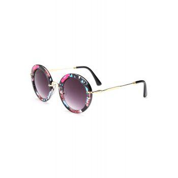 Chic Flower Pattern Round Sunglasses For Women