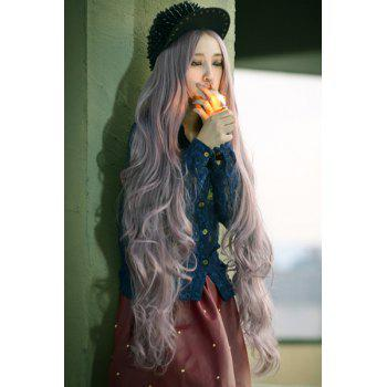 Charming Stylish 100CM Layered Shaggy Long Wavy Centre Parting Taro Color Cosplay Wig