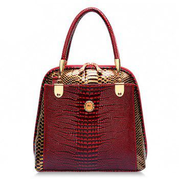 Stylish Style Snake Print and PU Leather Design Tote Bag For Women - WINE RED WINE RED
