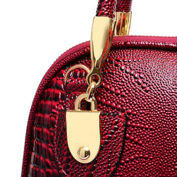 Stylish Style Snake Print and PU Leather Design Tote Bag For Women -  WINE RED