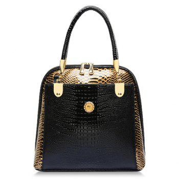 Stylish Style Snake Print and PU Leather Design Tote Bag For Women - BLACK BLACK