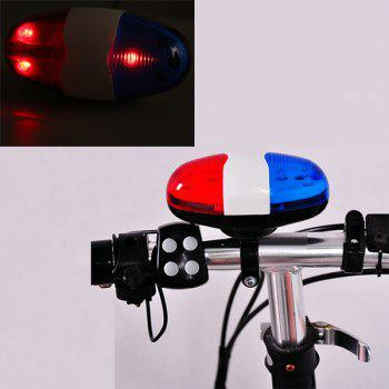 Water Resistant 6 LEDs 4 Sounds Bike Warning Horn Light Police Car Bicycle Necessaries