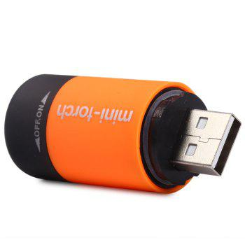 USB Rechargeable 25LM LED Flashlight Lamp Keychain Pocket Portable Torch for Outdoor Camping Hiking etc. -  ORANGE