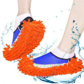 Practical Chenille Mop Slippers Dust Floor Cleaning Mopping Foot Shoes Home Pair Cleaner -  PURPLE