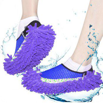 Practical Chenille Mop Slippers Dust Floor Cleaning Mopping Foot Shoes Home Pair Cleaner - PURPLE PURPLE