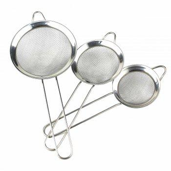 3Pcs Kitchen Stainless Steel Net Barrier Spoon Easy Cooking(S / M / L )