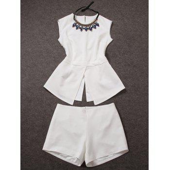 Scoop Collar Sleeveless Split Blouse + Solid Color Shorts Women's Twinset
