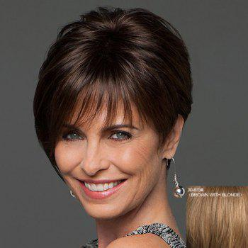 Stylish Human Hair Noble Sophisticated Side Bang Short Straight Capless Wig For Women