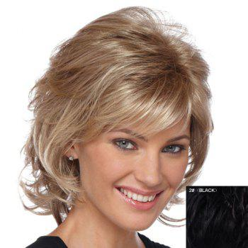Stylish Human Hair Elegant Charming Side Bang Fluffy Medium Wavy Layered Women's Capless Wig