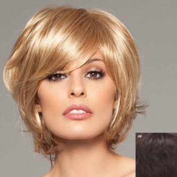 Stylish Human Hair Elegant Charming Fluffy Side Bang Short Straight Women's Capless Wig