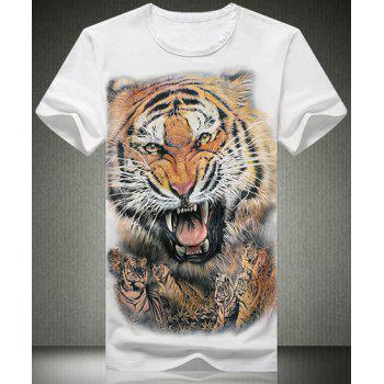 Stylish Plus Size Fitted Round Neck Animal Tiger Pattern 3D Printed Short Sleeves Men's T-Shirt - WHITE WHITE