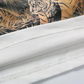 Stylish Plus Size Fitted Round Neck Animal Tiger Pattern 3D Printed Short Sleeves Men's T-Shirt - WHITE M