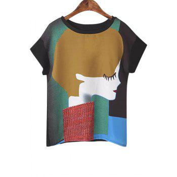 Casual Style Jewel Neck Color Block Girl Print Short Sleeve T-Shirt For Women