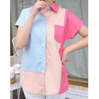 Stylish Women's Shirt Collar Color Block Short Sleeve Shirt