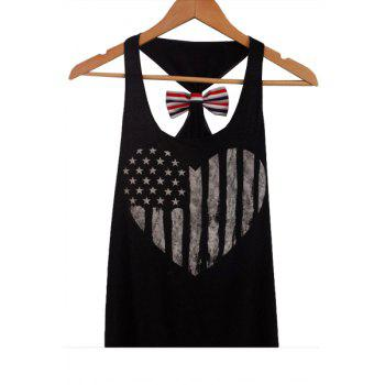 American Flag Patriotic Back Bowknot Tank Top