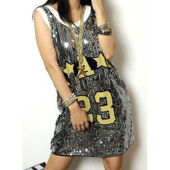 Stylish Sequin Embellished Sleeveless Scoop Neck Letter Print Women's Dress