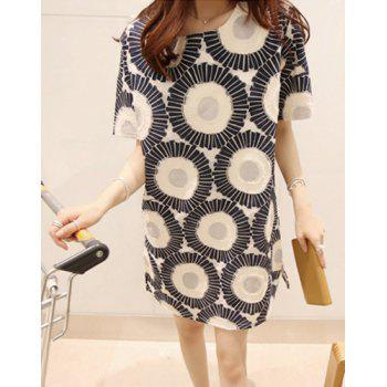 Casual Style Scoop Neck Half Sleeve Loose-Fitting Printed Women's Dress