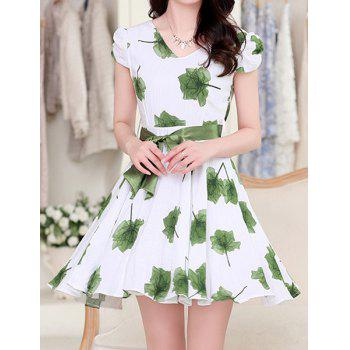 Ladylike Women's V-Neck Short Sleeve Floral Print Dress