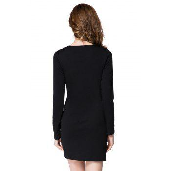 Solid Color Long Sleeve Round Collar Buttons Design Packet Buttock Dress - BLACK L
