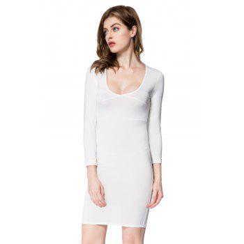 Sexy Plunging Neck Solid Color Long Sleeve Dress For Women - WHITE S