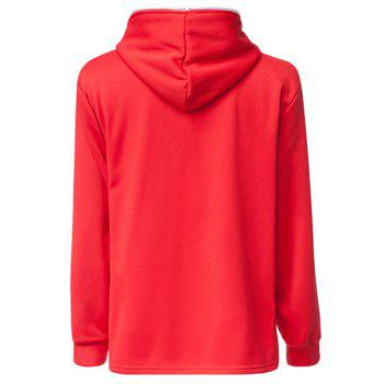Trendy Long Sleeves Hooded Personality Inclined Zipper Design Slimming Solid Color Men's Cotton Blend Hoodies - RED RED
