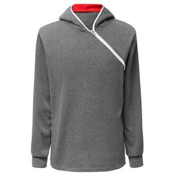 Trendy Long Sleeves Hooded Personality Inclined Zipper Design Slimming Solid Color Men's Cotton Blend Hoodies - DEEP GRAY DEEP GRAY