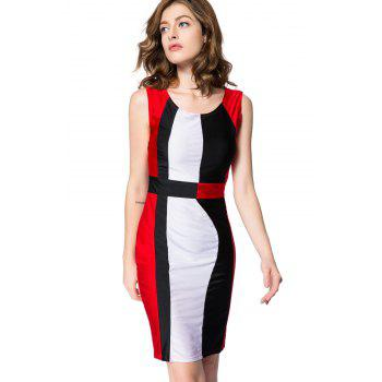 Simple Style Scoop Neck Sleeveless Color Block Packet Buttock Dress - RED M