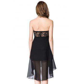 Strapless Lace Spliced Irregular Hem Sheer Club Dresses For Women - BLACK L