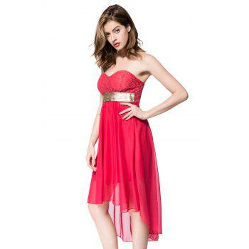Strapless Lace Spliced Irregular Hem Sheer Club Dresses For Women - RED XL