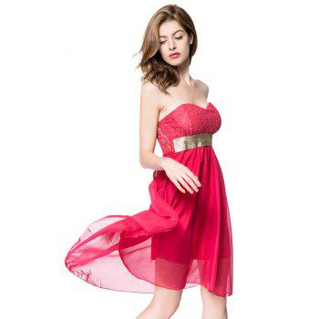 Strapless Lace Spliced Irregular Hem Sheer Club Dresses For Women - RED 2XL