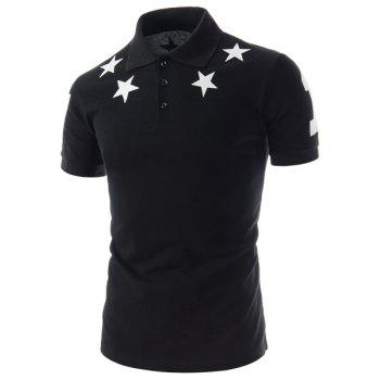 Fashion Slimming Turn-down Collar Five-Pointed Star Print Short Sleeves Men's Polyester Polo T-Shirt - BLACK L