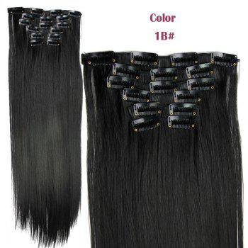 Stylish Heat Resistant Synthetic Clip-In Long Straight Women's Hair Extension Suit - 1B#  B