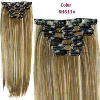Stylish Heat Resistant Synthetic Clip-In Long Straight Women's Hair Extension Suit - 6H613  H