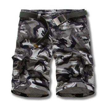Camouflage Style Straight Leg Loose Fit Pockets Embellished Zipper Fly Men's Shorts - GRAY GRAY